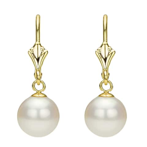 DaVonna 14k Yellow Gold 7-8mm White Freshwater Cultured Pearl Lever-back Earring