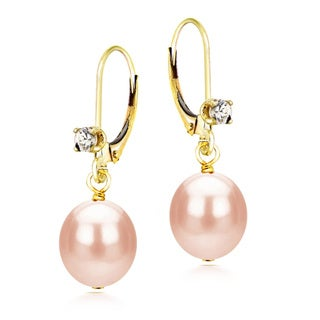 DaVonna 14k Yellow Gold 1/10ct Cubic Zirconia Long Shape Pink Freshwater Cultured Pearl Leverback Earrings (8-9mm)