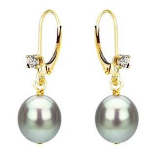DaVonna 14k Yellow Gold 1/10ct Cubic Zirconia Long Shape Grey Freshwater Cultured Pearl Lever-back Earrings (8-9mm)