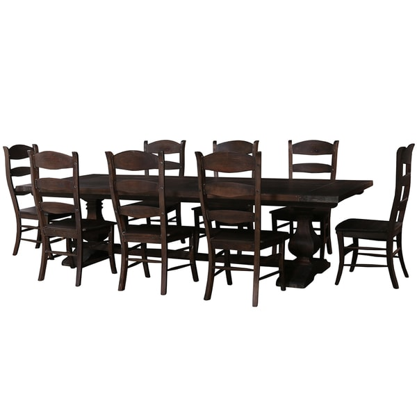 Shop Bramble Co Trestle Foot Mahogany Cocoa Stain Dining Table - 10 foot outdoor dining table