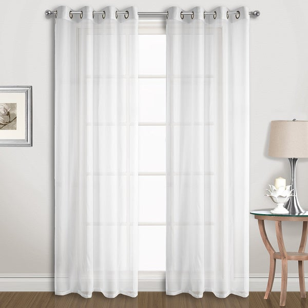 Luxury Collection Extra-wide Grommet Sheer Voile Curtain Panel Pair. Opens flyout.
