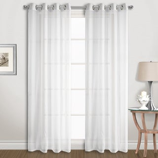 Polyester Extra-wide Grommet Sheer Voile Curtain Panel Pair