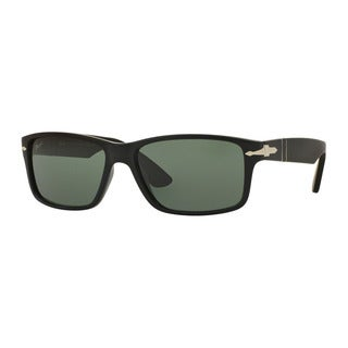Persol Men's PO3154S 104258 Black Rectangle Frame Green Polarized Lens Sunglasses