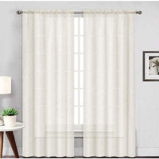 Solid Wide Rod Pocket Top Sheer Voile Curtain Panel Pair