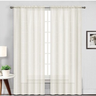 Luxury Collection Solid Wide Rod Pocket Top Sheer Voile Curtain Panel Pair - 104 x 84