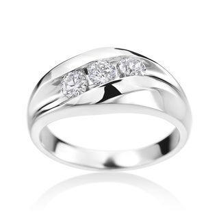SummerRose Men's 14k White Gold 3/4ct TDW Diamond Ring