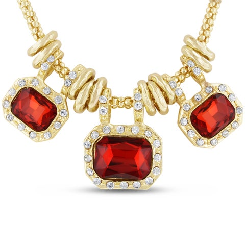 Gold Over Brass Red Glass And Crystal Statement Necklace