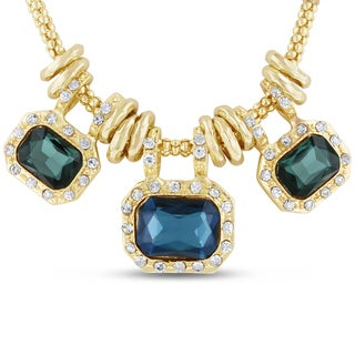 Gold Over Brass Green and Blue Glass And Crystal Statement Necklace