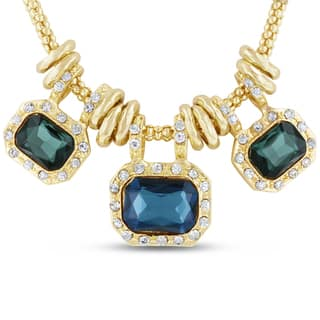 Gold Over Brass Green and Blue Glass And Crystal Statement Necklace|https://ak1.ostkcdn.com/images/products/12008589/P18885395.jpg?impolicy=medium