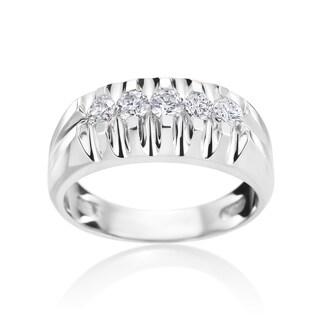 SummerRose 14k White Gold 3/4ct Diamond Mens Ring