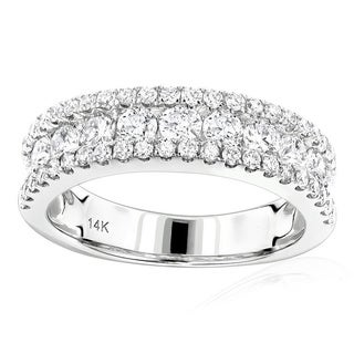 Luxurman 14k White Gold Diamond Wedding Band