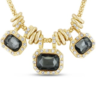 Gold Overlay Smoky Glass And Crystal Statement Necklace