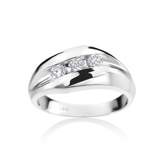 Summer Rose Men's 14k White Gold 1/2-carat Diamond Ring