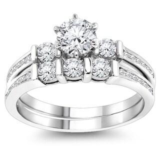 Luxurman 14k Gold 1 1/3ct TDW Diamond Designer Engagement Ring Set