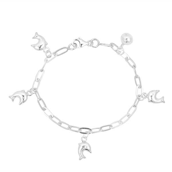925 Sterling Silver Polished Heart Star and Dolphin Anklet 9inch Ideal Gifts For Women