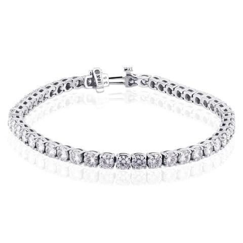 Annello by Kobelli 10k White Gold 7 3/4 Carats TGW Moissanite (HI) Tennis Bracelet (7 inches)