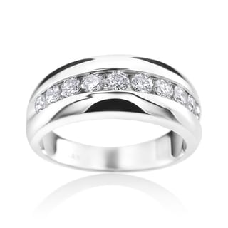 SummerRose 14k White Gold Diamond Mens Channel Wedding Ring