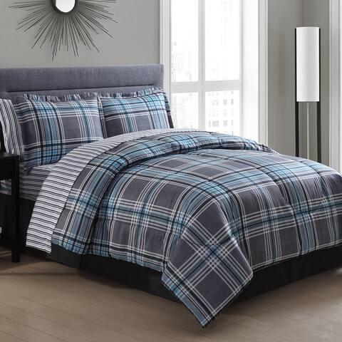 Chelsea Blue Plaid Bed in a Bag Comforter Set