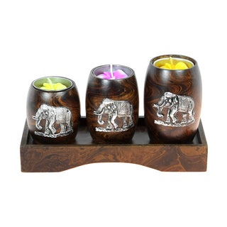 Three Mini Barrel Pewter Elephant Wooden Candle Holder Set (Thailand)