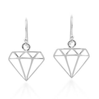 Handmade Chic Diamond Shape Outline Sterling Silver Dangle Earrings (Thailand)