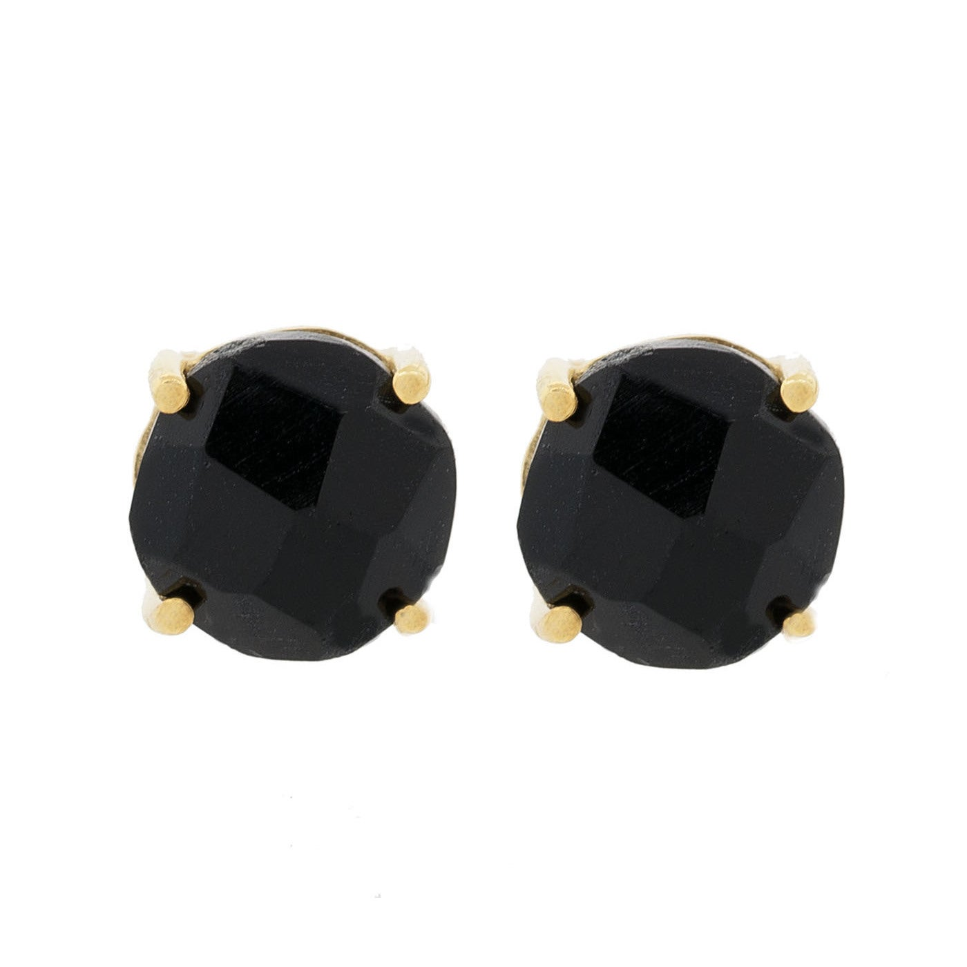 Pori 18k Gold Plated Sterling Silver Black Onyx Gemstone Round G Stud Earrings