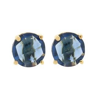 Pori 18k Goldplated Sterling-silver Round Blue Hydro Gemstone Stud Earrings