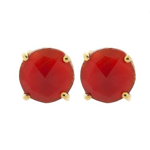 Pori 18k Gold-plated Sterling Silver Round Carnelian Gemstone Stud Earrings