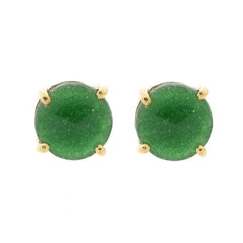 Pori 18k Gold-plated Sterling Silver Emerald Round Prong Stud Earrings