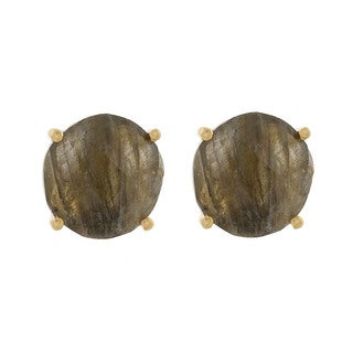 Pori 18k Gold-plated Sterling Silver Labradorite Gemstone Round Prong Stud Earrings