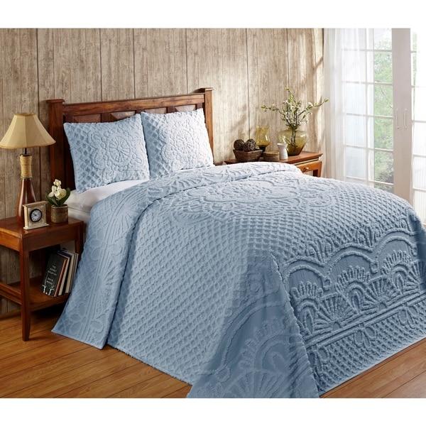 Better Trends Trevor Blue Cotton Bedspread Set