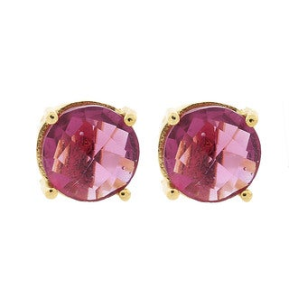 Pori 18k Goldplated Sterling Silver Round Pink Hydro Gemstone Stud Earrings
