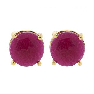 Pori Gold Plated Sterling Silver Ruby Gemstone Round Prong Dyed Stud Earrings