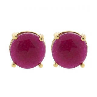 Pori 18k Gold-plated Sterling Silver Ruby Gemstone Round Prong Dyed Stud Earrings