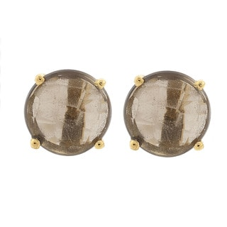 Pori 18k Gold-plated Sterling Silver Quartz Gemstone Round Prong Smokey Stud Earrings