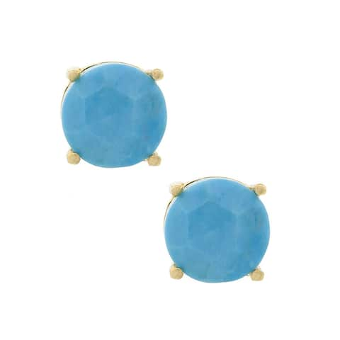 Pori 18k Goldplated Sterling Silver Turquoise Gemstone Round Prong Stud Earrings