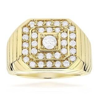 Luxurman 14k Gold Men's 1 1/3ct Diamond Ring