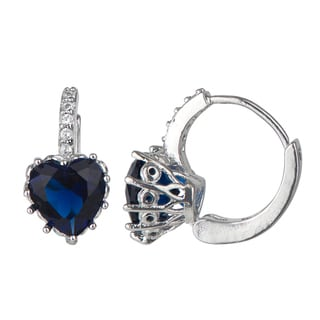 Simulated Sapphire Blue Cubic Zirconia Heart Leverback Earrings