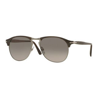 Persol Men's PO8649S 1045M3 56 Grey Plastic Pilot Polarized Sunglasses