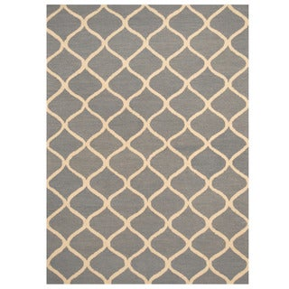 Herat Oriental Indo Hand-tufted Light Blue/ Ivory Trellis Wool Rug (5' x 7')