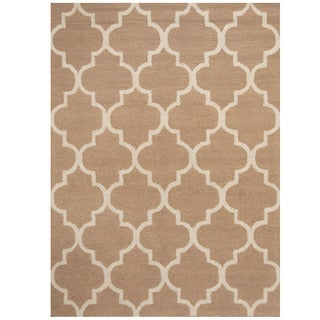 Herat Oriental Indo Hand-tufted Beige/ Light Blue Trellis Wool Rug (5' x 7')