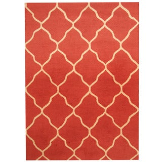 Herat Oriental Indo Hand-tufted Light Red/ Ivory Trellis Wool Rug (5' x 7')