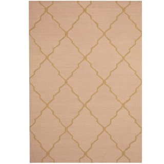 Herat Oriental Indo Hand-tufted Light Rose/ Gold Trellis Wool Rug (5' x 7')