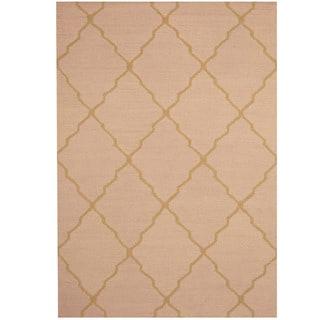 Herat Oriental Indo Hand-tufted Light Rose/ Gold Trellis Wool Rug (5' x 7')