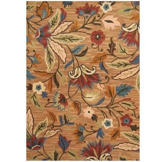Herat Oriental Indo Hand-tufted Beige/ Ivory Floral Wool Rug (5' x 7')