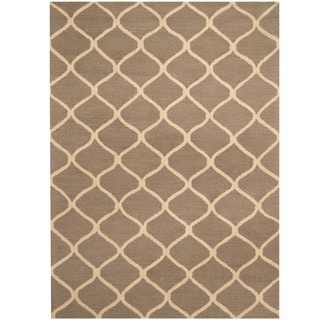 Herat Oriental Indo Hand-tufted Gray/ Ivory Trellis Wool Rug (5' x 7')