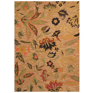 Herat Oriental Indo Hand-tufted Floral Wool Rug (5' x 7')