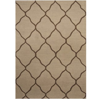 Herat Oriental Indo Hand-tufted Light Blue/ Brown Trellis Wool Rug (5' x 7')