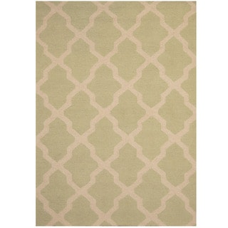 Herat Oriental Indo Hand-tufted Light Green/ Ivory Trellis Wool Rug (5' x 7')