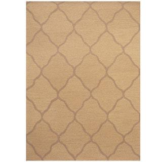 Herat Oriental Indo Hand-tufted Khaki/ Beige Trellis Wool Rug (5' x 7')