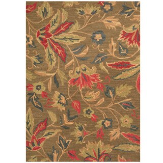 Herat Oriental Indo Hand-tufted Brown/ Red Floral Wool Rug (5' x 7')